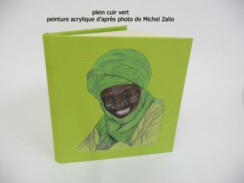 carnet de voyage en cuir 16cmX16cm peinture acrylique d'après photo Michel Zalio
